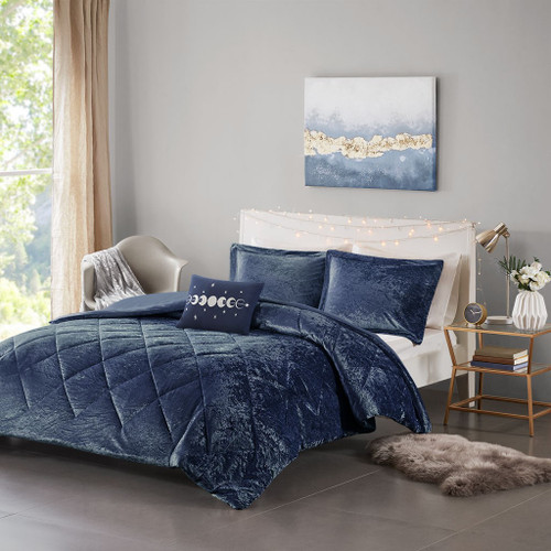 Navy Blue Lush Velvet Duvet Cover Set AND Decorative Pillow (Felicia -Navy-Duv)