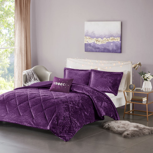 Purple Lush Velvet Duvet Cover Set AND Decorative Pillow (Felicia -Purple-Duv)