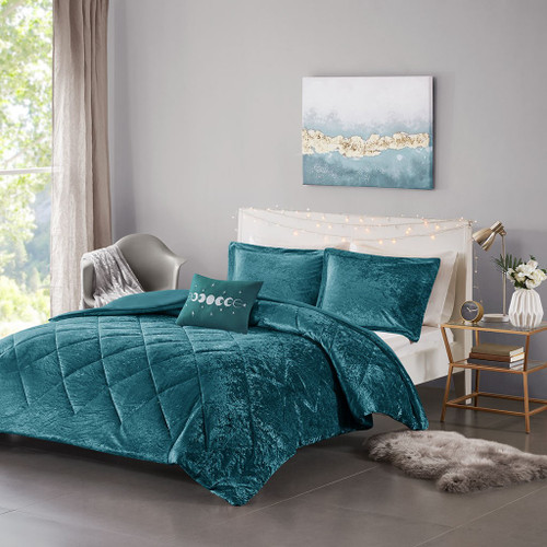 Teal Lush Velvet Duvet Cover Set AND Decorative Pillow (Felicia -Teal-Duv)