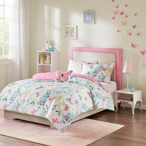 Pink White & Yellow Butterflies Comforter Set AND Decorative Pillow (Cynthia-Pink-Comf)