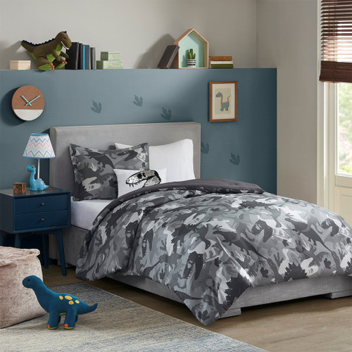 Grey Camo Dinosaur Reversible Comforter Set AND Decorative Pillow (Dylan-Grey-comf)