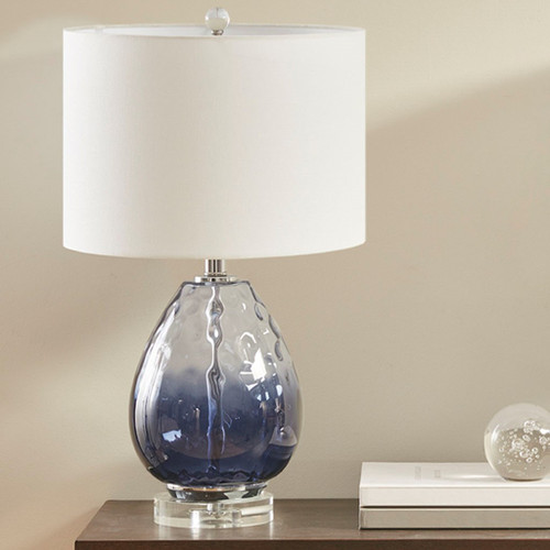 Borel Dark Blue Glass Table Lamp (Borel Dark Blue-Lamp)