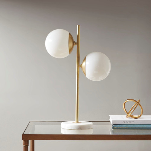 Holloway White/Gold Table Lamp (Holloway White/Gold-Lamp)