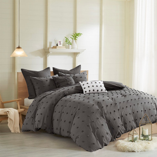 7pc Charcoal Grey Cotton Tufts Duvet Cover Set AND Decorative Pillows (Brooklyn-Charcoal-duv)