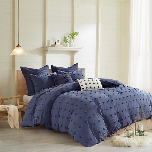 7pc Indigo Blue Cotton Tufts Duvet Cover Set AND Decorative Pillows (Brooklyn-Indigo Blue-duv)
