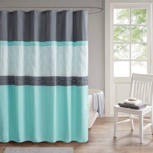 "Aqua & Grey Embroidered Microfiber Shower Curtain w/Liner - 72x72"" (Donnell Aqua/Grey-Shower)"