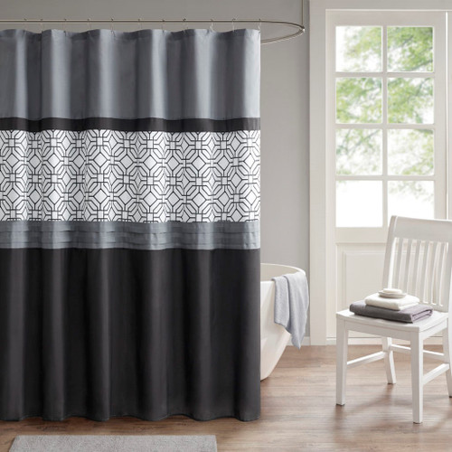 """Black Grey & White Embroidered Microfiber Shower Curtain w/Liner - 72x72"""" (Donnell Black/Grey-Shower)"""