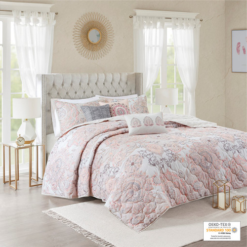 6pc Blush Pink Botanical Floral Cotton Coverlet AND Decorative Pillows (Isla-Blush-cov)