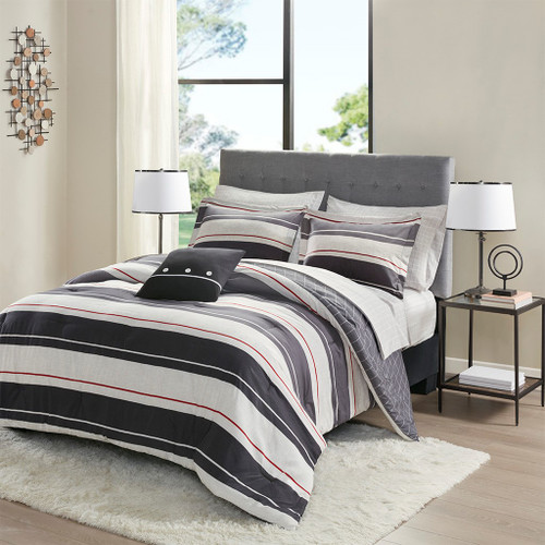 Grey & Charcoal Grey Geometric Comforter Set AND Matching Sheet Set (Dalton-Grey/Charcoal)