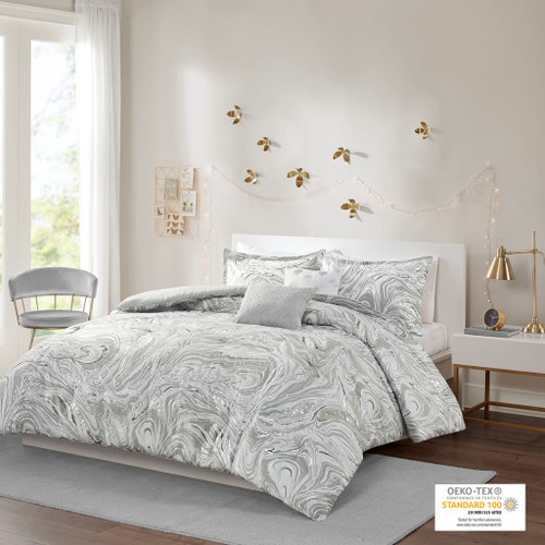 Grey & Silver Metallic Swirls Comforter Set AND Decorative Pillows (Rebecca-Grey/Silver-Comf)