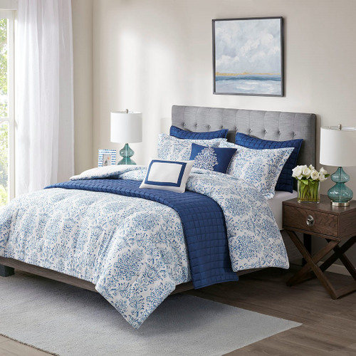 8pc Blue & White Damask Print Comforter AND Coverlet Set w/Decorative Pillows (August- 8 Piece -Blue-Comf)