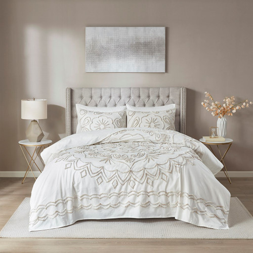 3pc Ivory & Taupe Textured Medallion Coverlet AND Decorative Pillow Shams (Violette-Ivory/Taupe-cov)