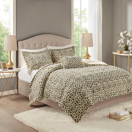 4pc Reversible Cheetah Print Faux Fur Comforter Set AND Decorative Pillow (Zuri-Cheetah)