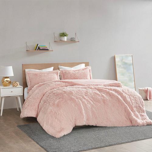 Blush Pink Shaggy Faux Fur Duvet Cover AND Decorative Shams (Malea -Blush-Duv)