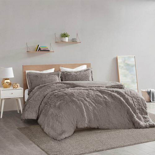 Grey Shaggy Faux Fur Duvet Cover AND Decorative Shams (Malea -Grey-Duv)