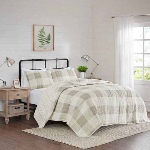 3pc Taupe Checkered & Striped Reversible Coverlet AND Decorative Shams (Morrison-Taupe-Cov)