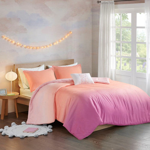 Pink & Orange Metallic Glitter Reversible Duvet Cover Set AND Decorative Pillow (Glimmer Metallic -Pink-Duv)