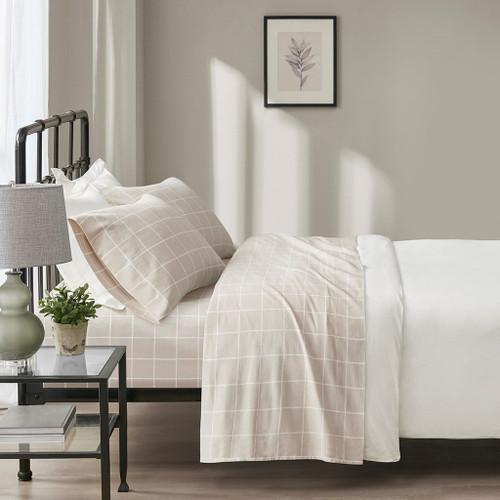 4pc Beige & White Windowpane Oversized Flannel Cotton Sheet Set (Oversized Flannel-Windowpane)