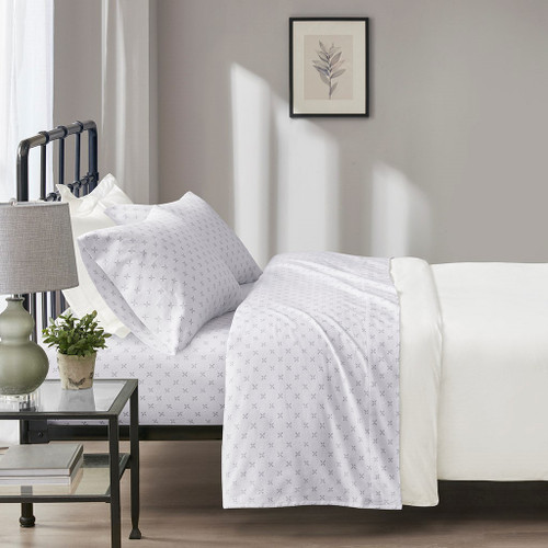 4pc Grey Petals Oversized Flannel Cotton Sheet Set (Oversized Flannel-Grey Petals)