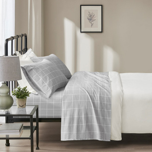 4pc Grey & White Windowpane Oversized Flannel Cotton Sheet Set (Oversized Flannel-Grey Windowpane)