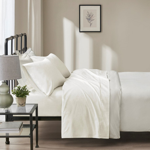 4pc Ivory Windowpane Oversized Flannel Cotton Sheet Set (Oversized Flannel-Ivory)