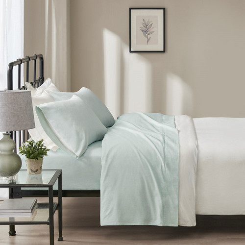 4pc Seafoam Windowpane Oversized Flannel Cotton Sheet Set (Oversized Flannel-Seafoam)