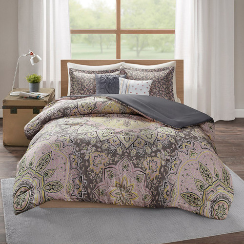 Oversized Medallions Pink/Grey Floral Boho Comforter Set AND Decorative Pillows (Odette-Pink/Grey)
