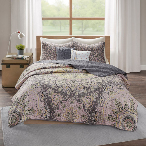 Oversized Medallions Pink/Grey Floral Boho Coverlet Set AND Decorative Pillows (Odette-Pink/Grey-cov)
