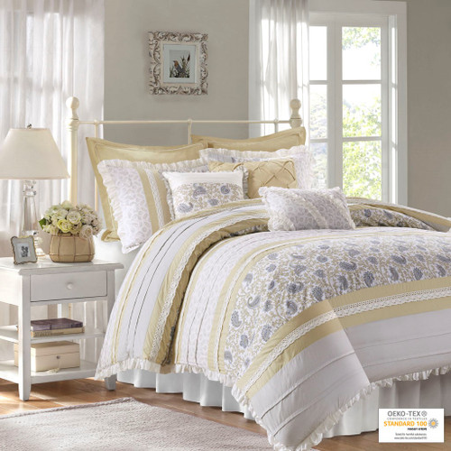 9pc Yellow Cottage Chic Lace Comforter Set AND Decorative Pillows (Dawn-Yellow)