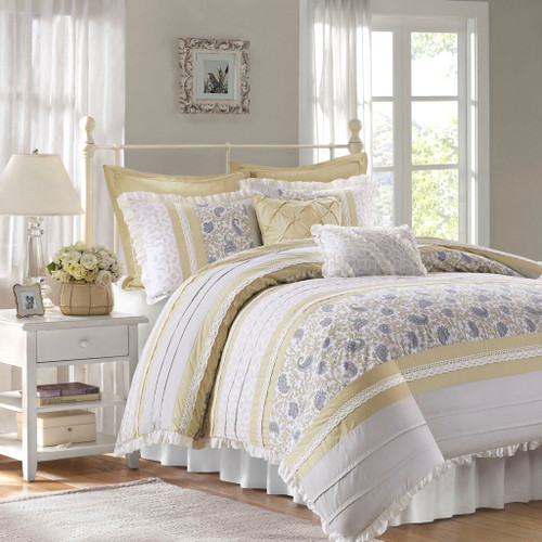 9pc Yellow & White Cottage Chic Lace Duvet Cover Bedding Set AND Decorative Pillows (Dawn-Yellow-duv)