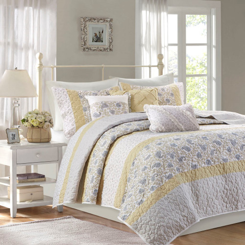 6pc Yellow & White Cottage Chic Coverlet Quilt Set AND Decorative Pillows (Dawn-Yellow-cov)