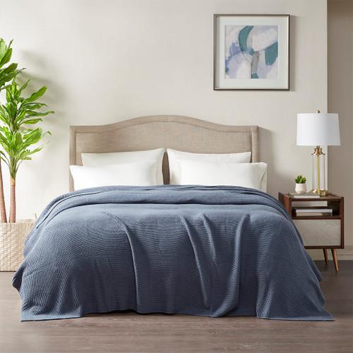 Indigo Blue Classic Knitted Year Round Blanket (Bree-Indigo Blue-Blanket)