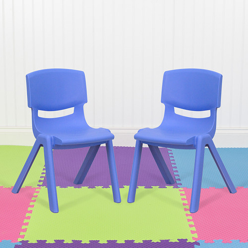 """2 Pack Blue Plastic Stackable School Chair w/12"""" Seat Height"""