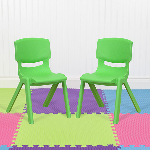 """2 Pack Green Plastic Stackable School Chair w/12"""" Seat Height"""