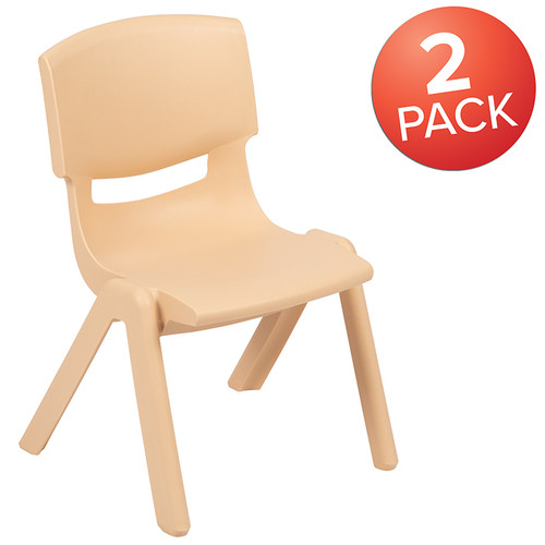 """2 Pack Natural Plastic Stackable School Chair w/12"""" Seat Height"""