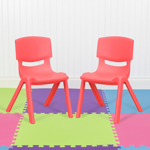 """2 Pack Red Plastic Stackable School Chair w/12"""" Seat Height"""