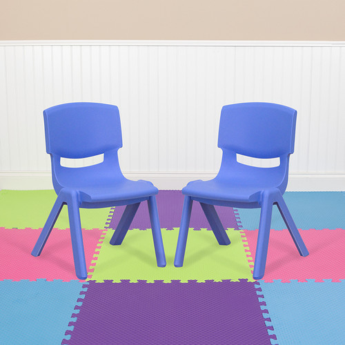 2 Pack Blue Plastic Stackable School Chair w/10.5'' Seat Height