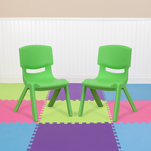 2 Pack Green Plastic Stackable School Chair w/10.5'' Seat Height