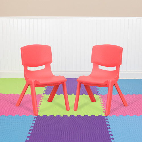 2 Pack Red Plastic Stackable School Chair w/10.5'' Seat Height