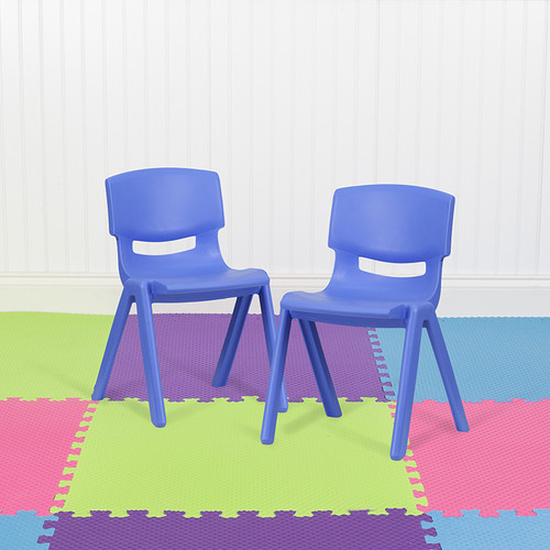 """2 Pack Blue Plastic Stackable School Chair w/13.25"""" Seat Height"""