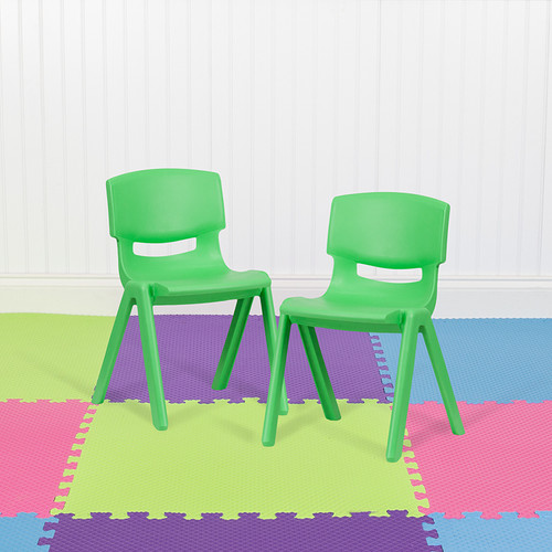 """2 Pack Green Plastic Stackable School Chair w/13.25"""" Seat Height"""