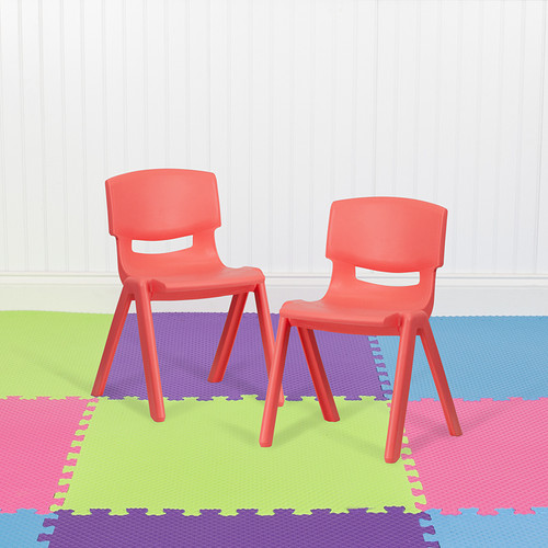 """2 Pack Red Plastic Stackable School Chair w/13.25"""" Seat Height"""