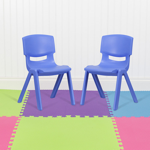 """2 Pack Blue Plastic Stackable School Chair w/15.5"""" Seat Height"""