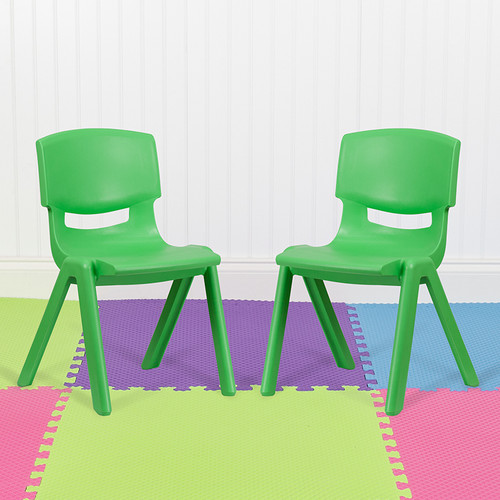 """2 Pack Green Plastic Stackable School Chair w/15.5"""" Seat Height"""
