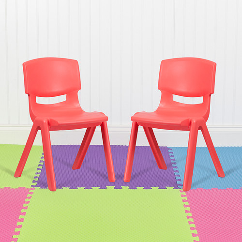 """2 Pack Red Plastic Stackable School Chair w/15.5"""" Seat Height"""