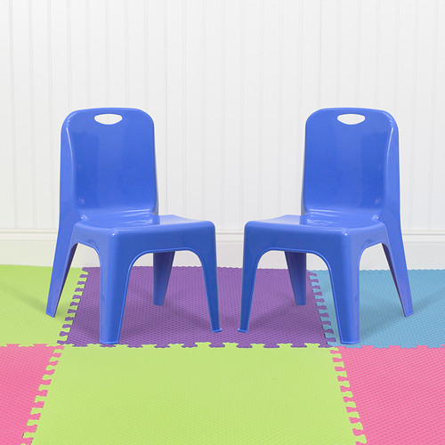 """2 Pack Blue Plastic Stackable School Chair w/Carrying Handle & 11"""" Seat Height"""