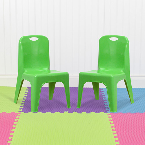"""2 Pack Green Plastic Stackable School Chair w/Carrying Handle & 11"""" Seat Height"""