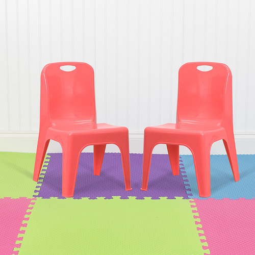 """2 Pack Red Plastic Stackable School Chair w/Carrying Handle & 11"""" Seat Height"""