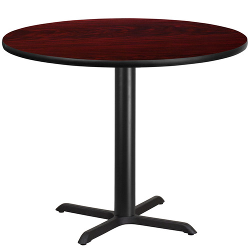 42'' Round Mahogany Laminate Table Top w/33'' x 33'' Table Height Base