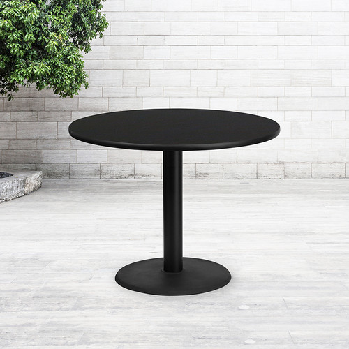 42'' Round Black Laminate Table Top w/24'' Round Table Height Base